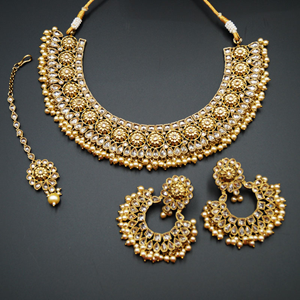 Rhu - Gold Polki Stone Necklace Set with Pearls- Antique Gold
