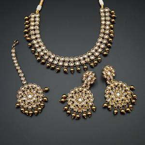Suri - Gold Polki Stone Necklace Set - Antique Gold