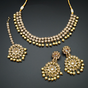 Suri - Gold Polki Stone Necklace Set with Pearls- Antique Gold