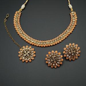 Sanya-Gold Polki Stone/Peach Bead Necklace set - Antique Gold