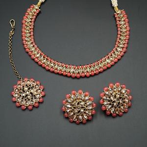 Sanya-Gold Polki Stone/Coral Bead Necklace set - Antique Gold