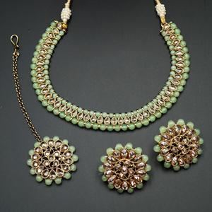 Sanya-Gold Polki Stone/Mint Beads Necklace set - Antique Gold