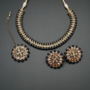 Sanya-Gold Polki Stone/Black Beads Necklace set - Antique Gold