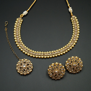 Udip - Gold Polki Stone /Pearls Necklace- Antique Gold