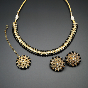 Udip - Gold Polki Stone/Black Beads Necklace Set- Antique Gold