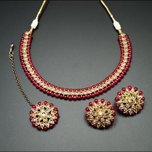 Udip - Gold Polki Stone/Maroon Beads Necklace Set- Antique Gold