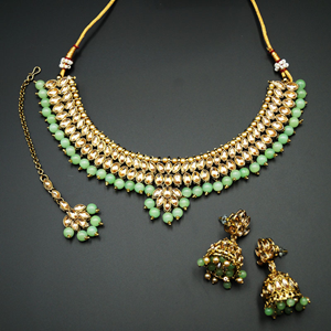 Lius- Gold Kundan & Mint Beads Necklace Set - Antique Gold