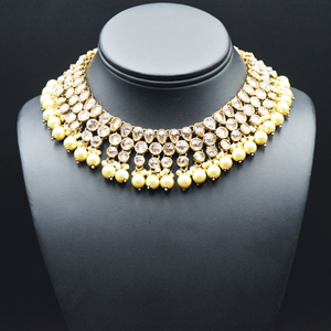 Kesh - Gold Polki Stone Necklace Set with Pearls- Antique Gold