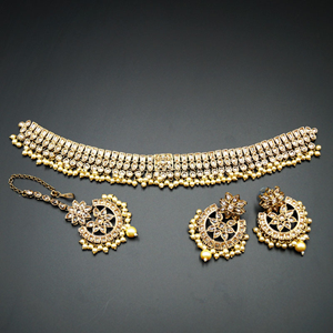 Saat - Gold Polki Stone Choker Set with Pearls- Antique Gold