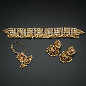 Rajm  - Gold Polki Choker Necklace Set with Pearls- Antique Gold