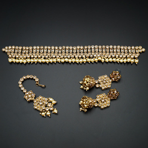 Sara- Gold Polki Choker Necklace Set with Pearls- Antique Gold
