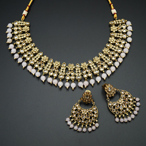 Garin -Gold Polki Stone/Nude Beads Necklace set - Antique Gold