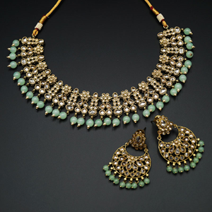 Garin -Gold Polki Stone/Mint Beads Necklace set - Antique Gold