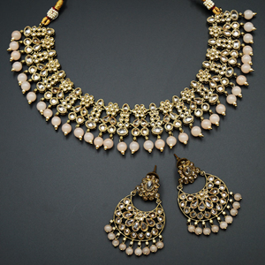 Garin -Gold Polki Stone/Peach Beads Necklace set - Antique Gold