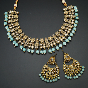 Garin -Gold Polki Stone/Blue Beads Necklace set - Antique Gold