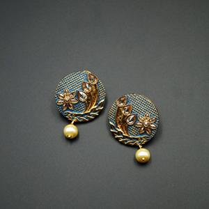 Bhima- Blue Meenakari/Gold Polki Earrings - Gold