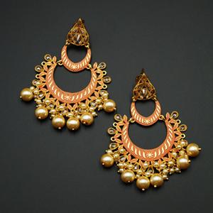 Suri - Peach Meenakari/Gold Polki Earrings - Gold