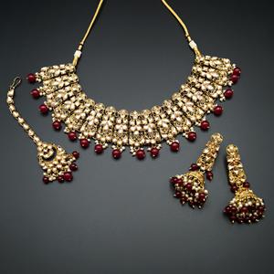 Filza-Gold Kundan & Pink Beads Necklace Set - Antique Gold