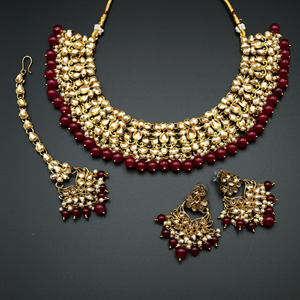 Abera -Gold Kundan & Pink Beads Necklace Set - Antique Gold