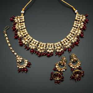 Ladhi  -Gold Kundan & Pink Beads Necklace Set - Antique Gold