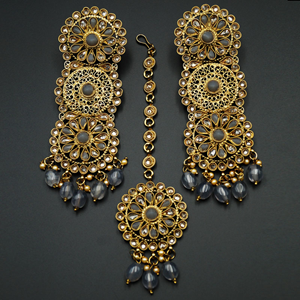 Dhawa- Grey /Gold Polki Stone Earring Tikka Set -Antique Gold