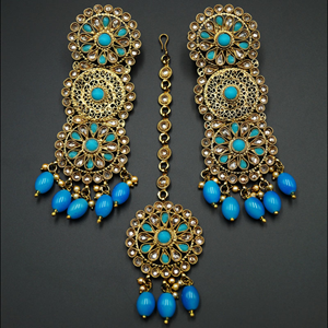 Dhawa- Turquoise /Gold Polki Stone Earring Tikka Set -Antique Gold