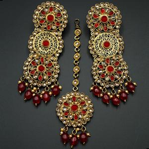 Dhawa- Red /Gold Polki Stone Earring Tikka Set -Antique Gold