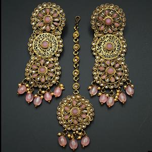 Dhawa- Pink /Gold Polki Stone Earring Tikka Set -Antique Gold