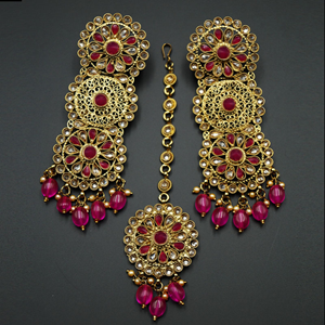 Dhawa- Pink /Gold Polki Stone Earring Tikka Set -Antique Gold