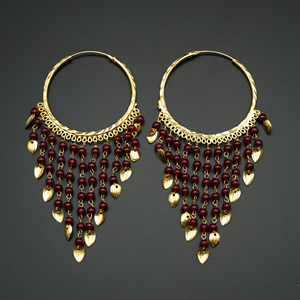 Raghi-Maroon (Hoop) Bali Earrings -Gold