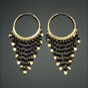 Raghi-Black (Hoop) Bali Earrings -Gold