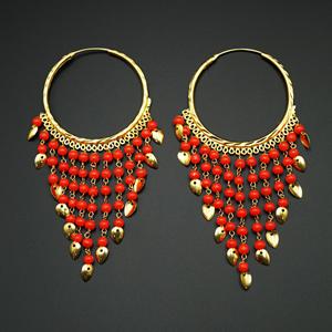 Raghi- Orange (Hoop) Bali Earrings -Gold