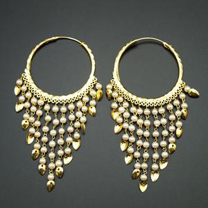 Raghi- White Pearl (Hoop) Bali Earrings -Gold