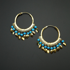 Yami -Turquoise (Hoop) Bali Earrings -Gold