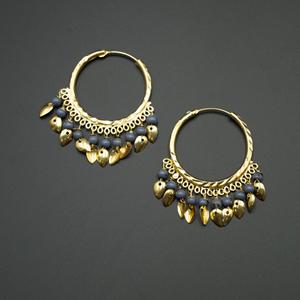 Yami -Grey (Hoop) Bali Earrings -Gold