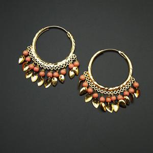 Yami - Peach(Hoop) Bali Earrings -Gold
