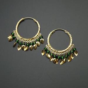Yami -Green (Hoop) Bali Earrings -Gold