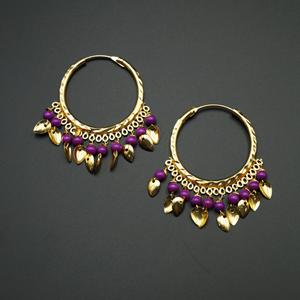 Yami -Lilac (Hoop) Bali Earrings -Gold