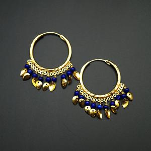 Yami - Blue (Hoop) Bali Earrings -Gold