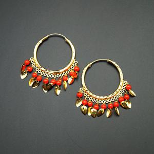 Yami -Orange  (Hoop) Bali Earrings -Gold