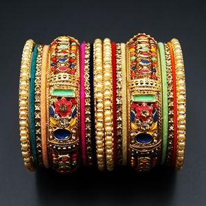 Kamal - Multicolour Bangle Set - Gold