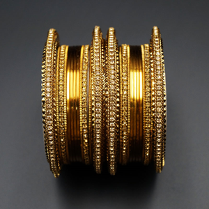 Ubika- Gold Diamante Bangle Set - Gold