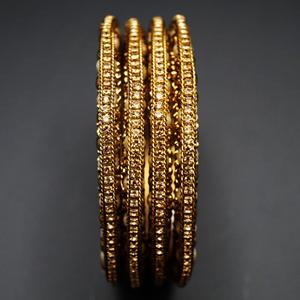Durva -Gold Diamante Bangle Set - Antique Gold