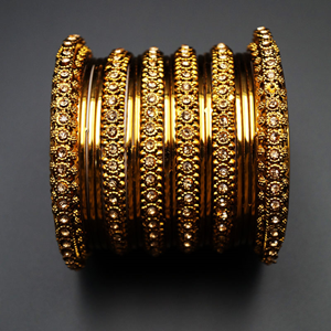 Leta- Gold Diamante and Gold Bangle Set - Antique Gold