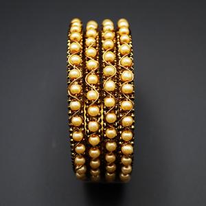 Panra- Gold Champagne Pearl Bangle Set - Gold