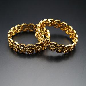 Seema- Gold Polki Stone Kharas -Antique Gold