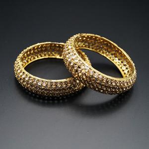 Kyda- Gold Polki Stone Kharas -Antique Gold