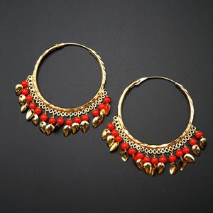 Sagun  -Orange (Hoop) Bali Earrings -Gold