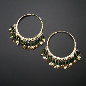 Sagun  -Green (Hoop) Bali Earrings -Gold