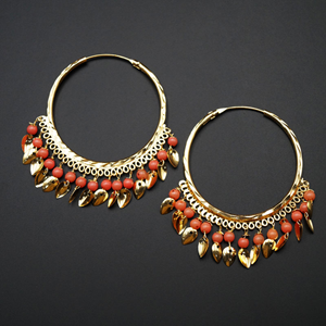Sagun  -Peach  (Hoop) Bali Earrings -Gold